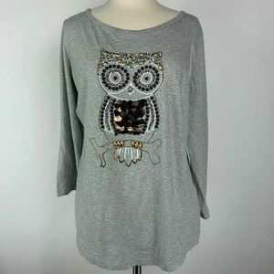 Crown & Ivy Owl Graphic Gray Beaded Tee Size XL